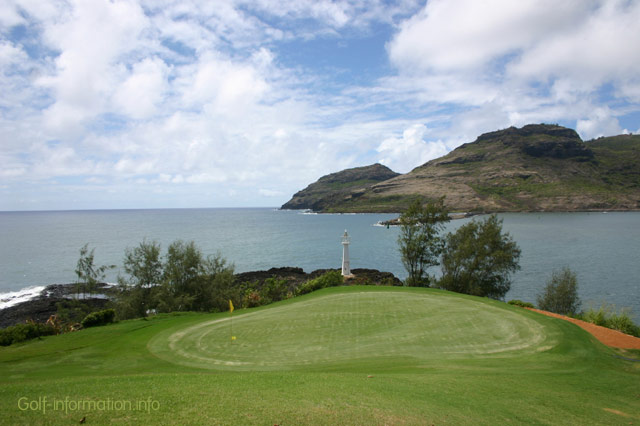The 17th Green on the Kauaii Marriott Resort Hotel\'s Golf course, looking out into the bay. Stock photo © boysenh.